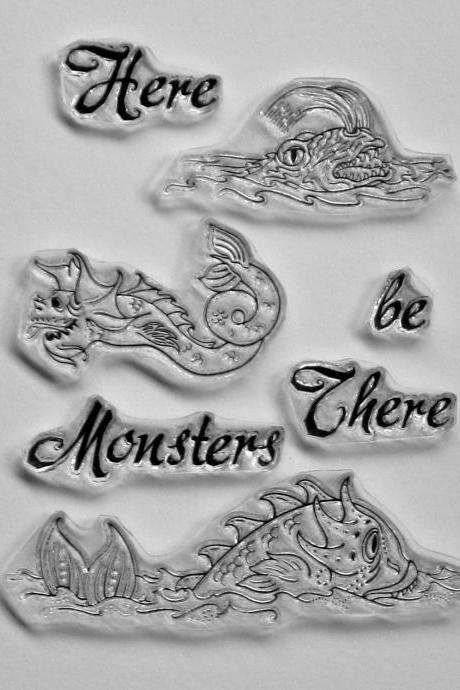 Adventure Series Here There be Monsters clear stamps sea monsters