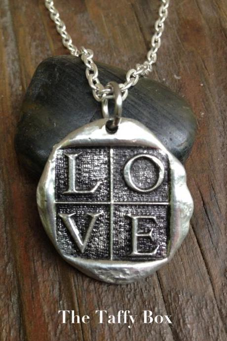 Wax Seal Pendant Necklace LOVE