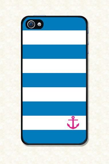 Iphone 5 Case - Blue stripes pink anchor Iphone 5 Cover