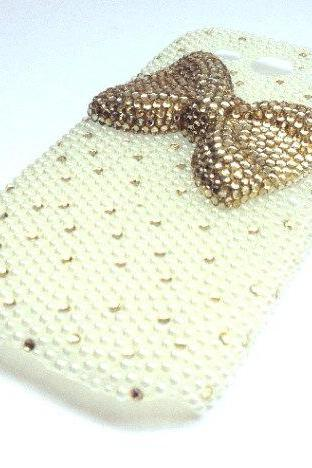 Pearl cell phone bling rhinestone case with bow for Samsung Galaxy S3
