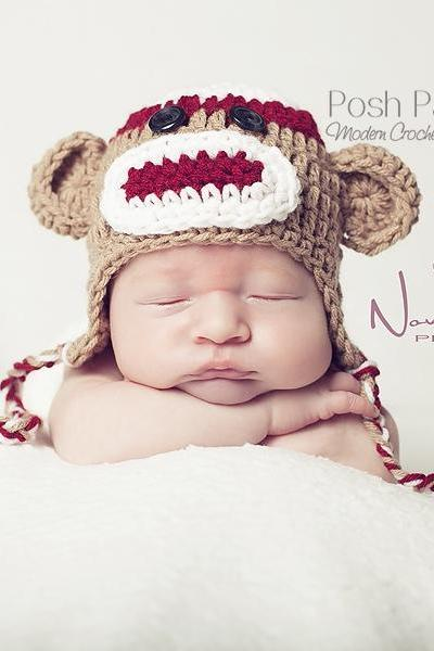Crochet Hat Pattern Baby Sock Monkey Earflap Hat Pattern Includes 3 Sizes PDF 308