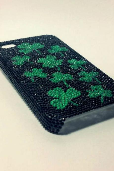 Cell phone case rhinestone case custom bling case four leaf clover