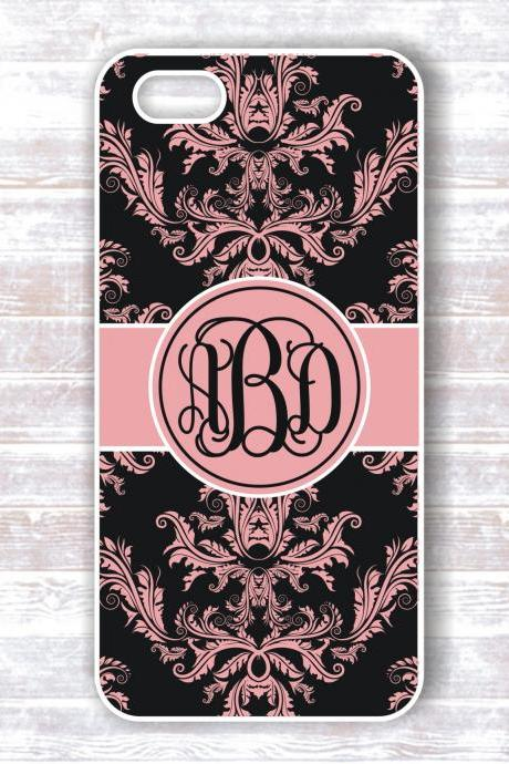 Monogrammed damask Iphone 5 case - Personalized Hard Cases for iphones
