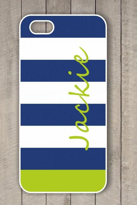 Monogrammed striped Iphone 4/4S case - Personalized Hard Cases for iphones