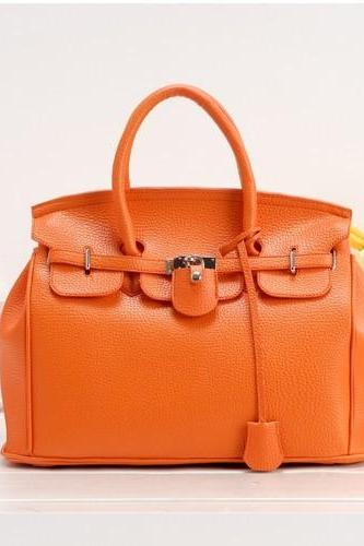 Women Fashion Orange Platinum Handbag