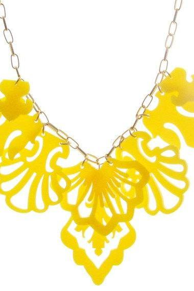 Statement Yellow Necklace - Elegant Jewelry - Bridesmaids Necklace - Bridesmaids Jewelry - Prom Jewelry - Cocktail Jewelry - Party Jewelry