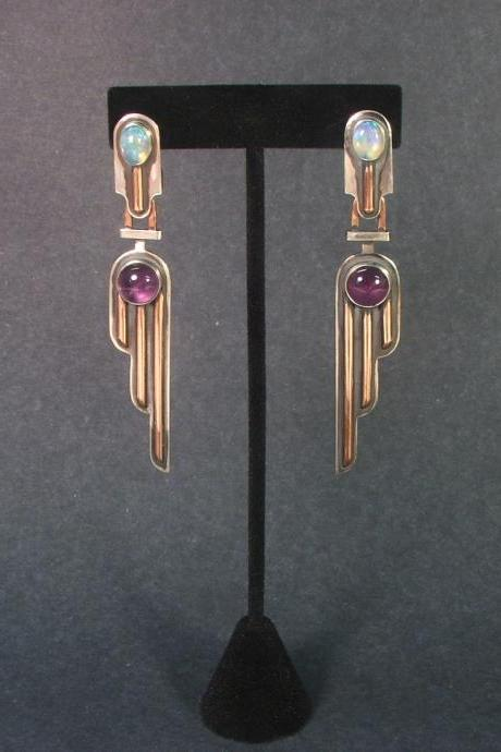 Natural Opals and Amethysts Earrings