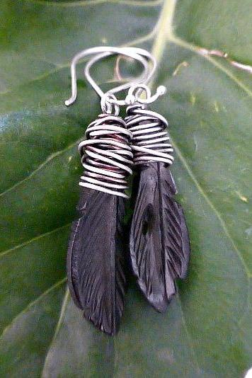Sterling silver wire wrapped Carved Bone Earrings. Leaves. Hippie, bohemian