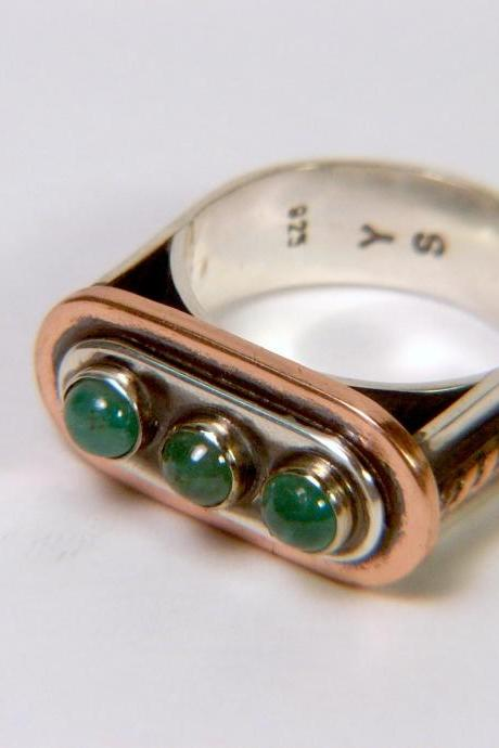 Natural Emeralds Silver Ring