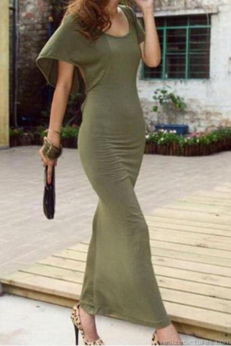Elegant Army Green Open Back Stretchy Maxi Dress