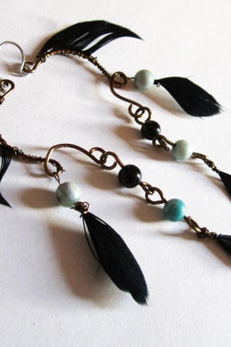 Boho Earrings, Black Feather Fashion Jewelry