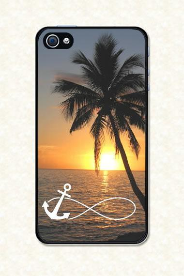 Iphone 4 Case - Infinity Anchor on Beautiful Sunset Beach Iphone 4s Case, Iphone Case, Iphone 4 Cover