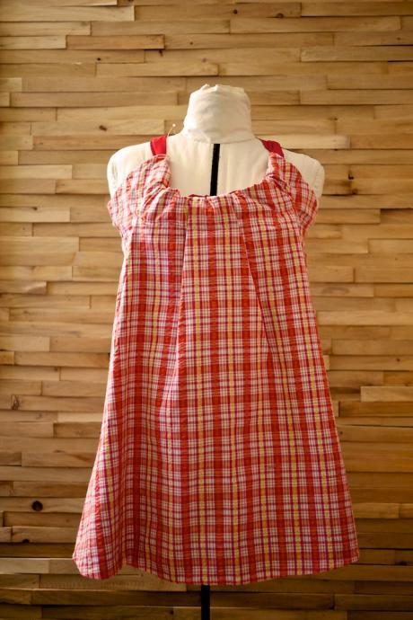 30 Dollar SALE Pretty Pleats Vintage Halter Dress/Tunic Red Plaid