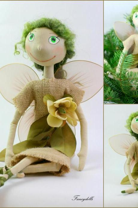 Cloth Doll Fairy Fly - gift for St. Patrick's day - Ready to ship