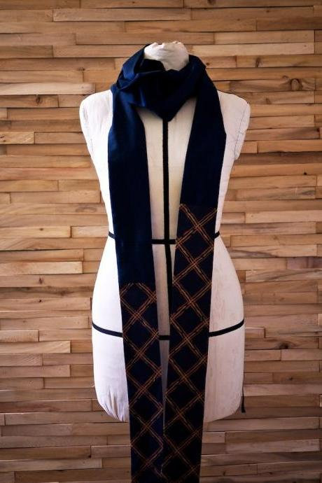 Extra Long Navy Wrap Scarf