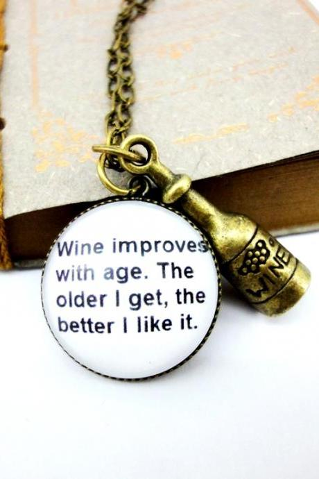 Folly funny interesting quote wine bottle charm long necklace