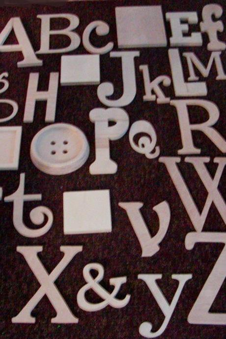 "Alphabet Set -Wooden Letters -Alphabet Wall-ABC Wall- UNPAINTED 12"" to 6"" letters various thicknesses"