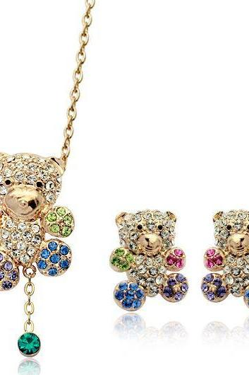 Lovely Swarovski Crystal Teddy Bear Jewelry Set