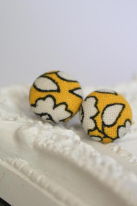Bespoke vintage style fabric covered button earrings