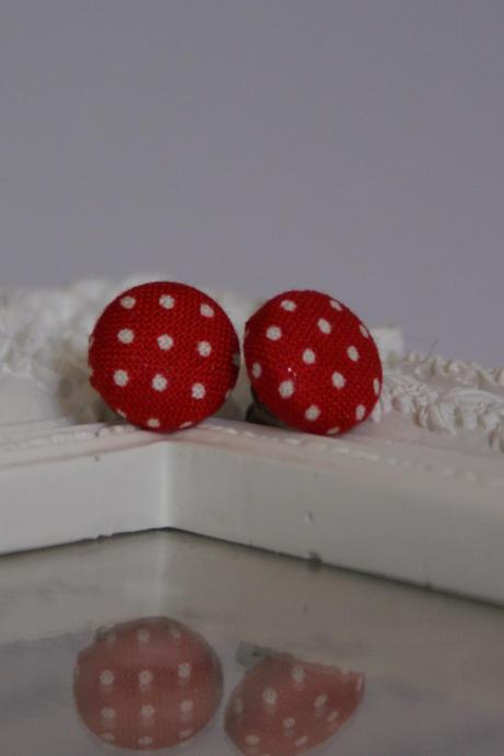 Bespoke red polka dot fabric covered button earrings