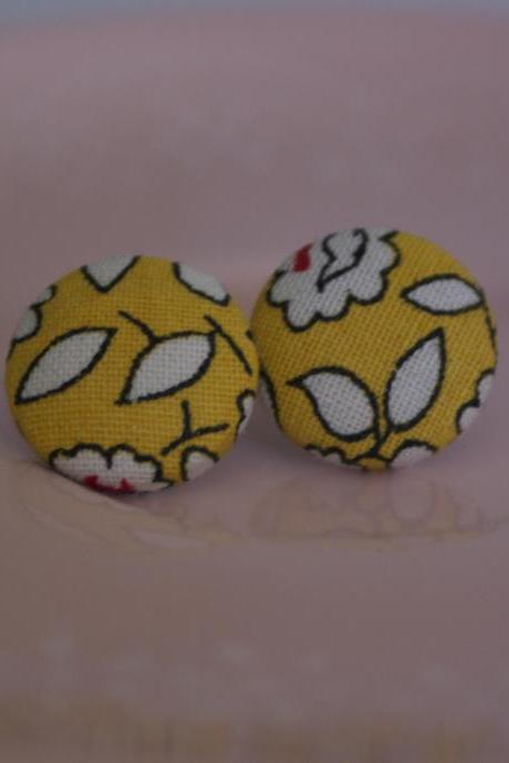 Bespoke fabric covered button earrings