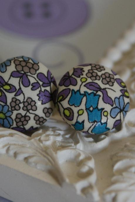 Liberty fabric button covered earrings