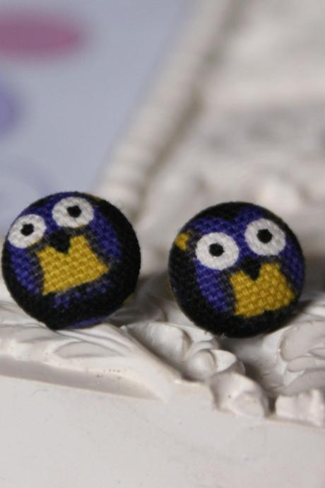 Kawaii Owl Fabric Covered Button Earrings