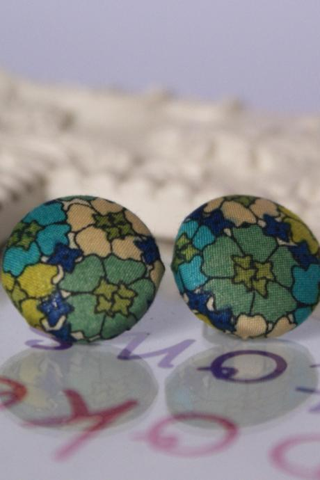 Liberty Green Floral Button Earrings