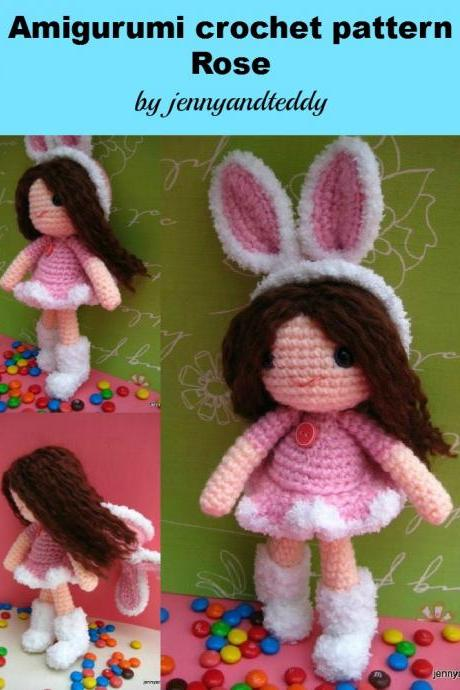 pdf rose girl with bunny hat amigurumi crochet pattern-Luulla