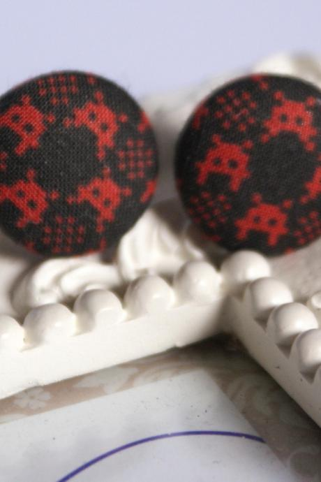 Space Invaders button covered earrings