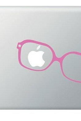 Glasses Apple Vinyl Decal ideal for Macbook, Macbook Pro, IPad, Laptops Humor Geek