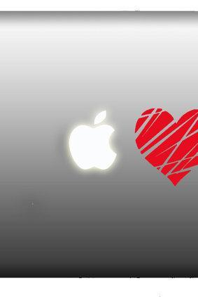 Buy 2 get 1 Free Stickers Macbook- Apple Heart in Love - SALE