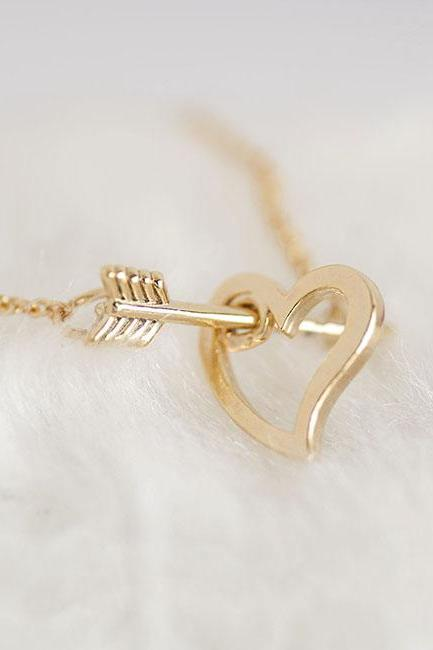 Gold Arrow Heart Necklace, Open Heart Arrow Cupid Necklace, Matoto