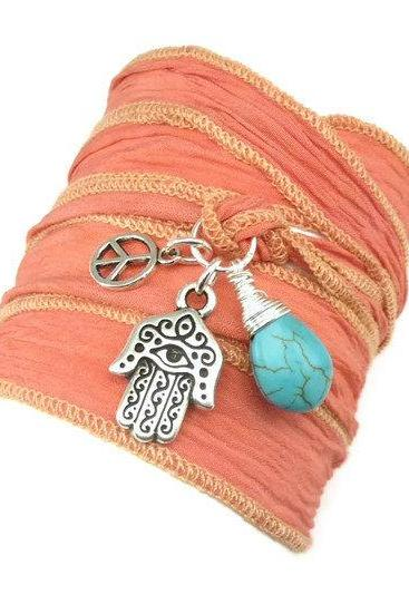 Celebrity Silk Ribbon Bracelet with Hamsa, Peace Sign, and Turquoise, yoga jewelry, wrapped wrapping bracelet, wrap around,wrist wrap