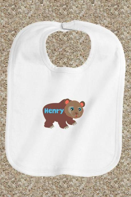Baby clothes, baby bib, personalized bib, white cotton bib, baby shower