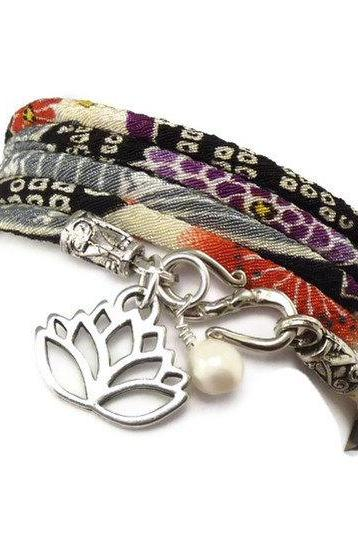 Japanese Wrap Bracelet with Lotus Flower Charm, Japanese Chirimen , yoga jewelry, wrapped wrapping bracelet, wrap around