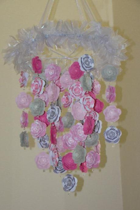 Flower Nursery Mobile Baby Mobile flower Hot Pink Raspberry and Grays