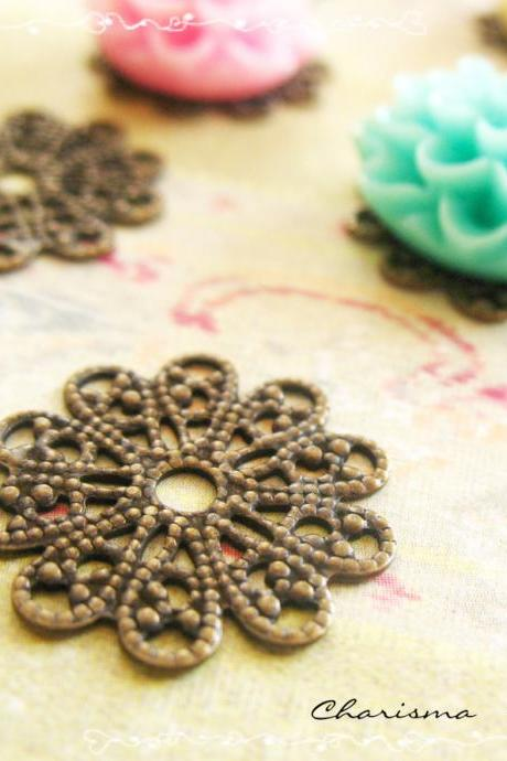 6 Brass Vintage Filigree Caps - Connectors Findings Flower, 17mm