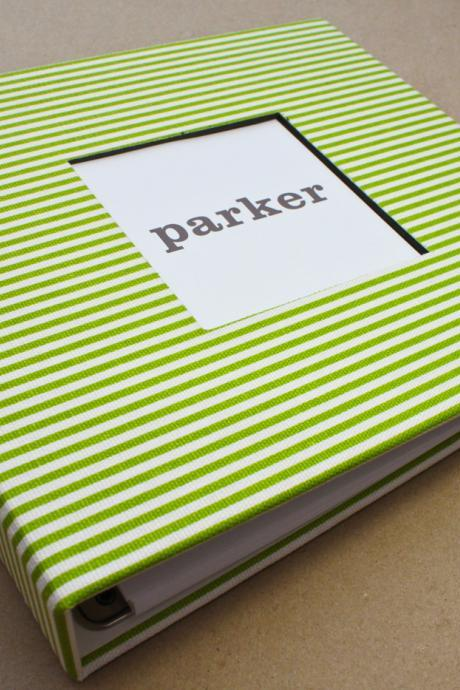Baby Book - Green and White Stripes (78 designed journaling pages & personalization included with every album)