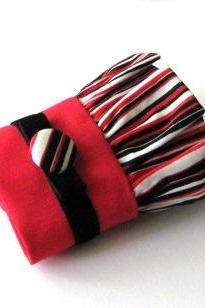 Red and black stripe fabric cuff bracelet - Wristlet cuff