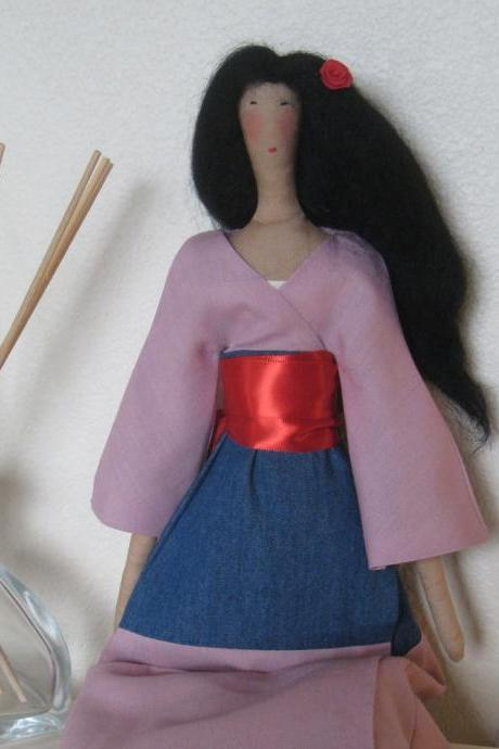 Fabric art tilda doll 'Mulan' - made to order
