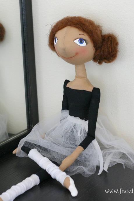 Cloth doll ballet dancer Little Ballerina for decor - made to order