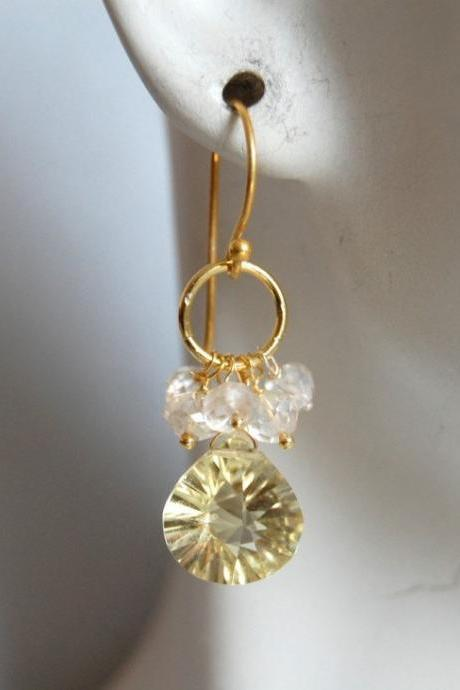AAA Lemon quartz and moonstone earrings