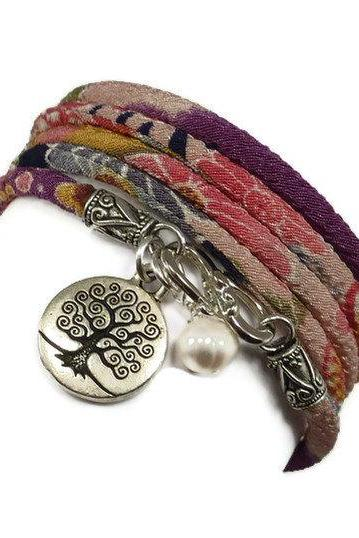 Wrap Bracelet with Tree of LIfe Charm and Freshwater Pearl