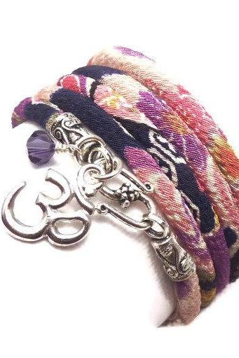 Japanese Chirimen Cord Wrap Bracelet with Om Charm
