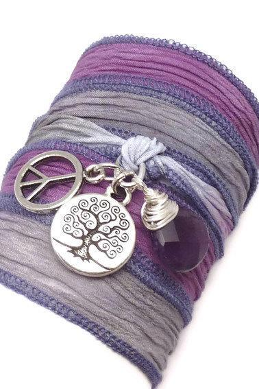 Silk Wrap Bracelet with Tree of Life, Peace Sign, and Amethyst