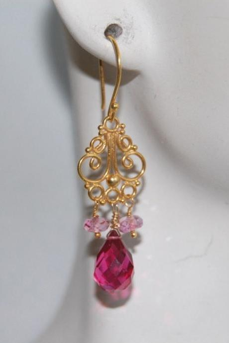 AAA vivid hot pink quartz and pink topaz chandelier