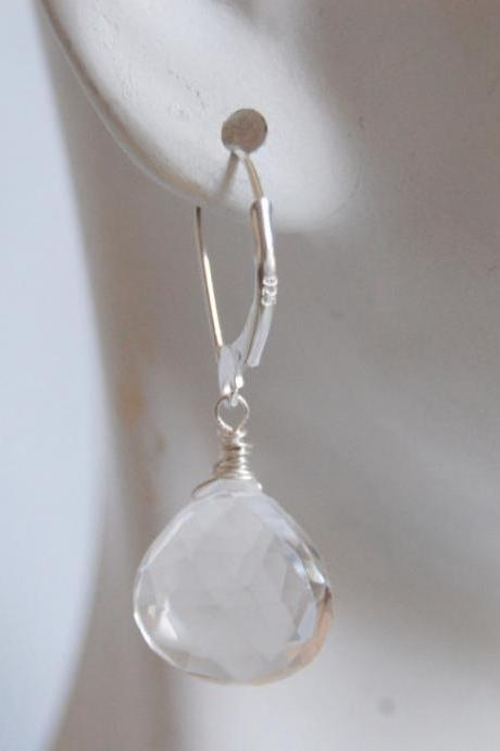 Clear Crystal Quartz heart briolette earrings with sterling silver