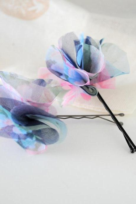 Blue Watercolors. Hairpin Set by KimArt - made to order