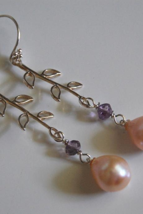Light pink pearl and Amethyst dangle earrings